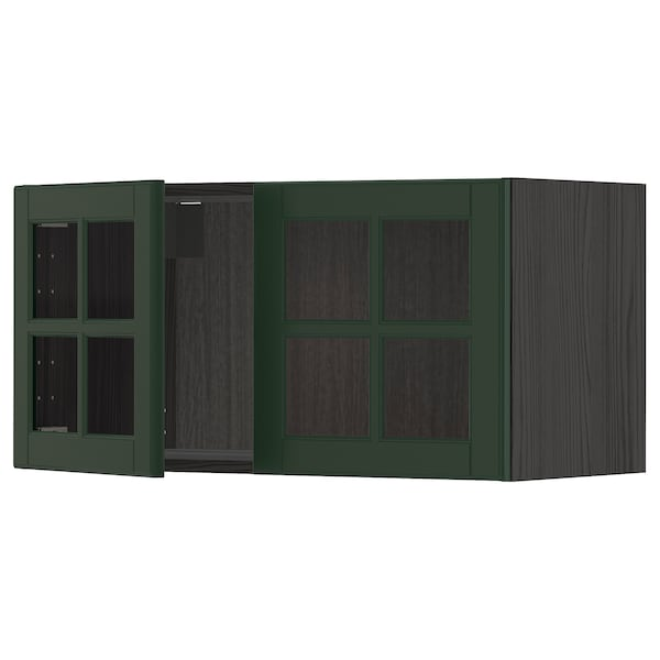 METOD Wall cabinet with 2 glass doors, black/Bodbyn dark green, 80x40 cm