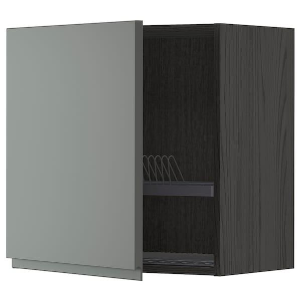 METOD Wall cabinet with dish drainer, black/Voxtorp dark grey, 60x60 cm