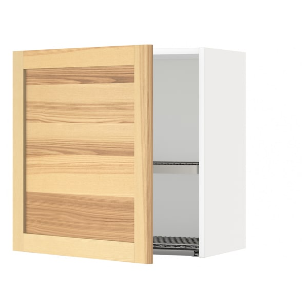 METOD Wall cabinet with dish drainer, white/Torhamn ash, 60x60 cm