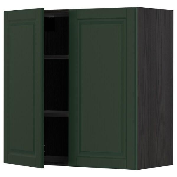 METOD Wall cabinet with shelves/2 doors, black/Bodbyn dark green, 80x80 cm