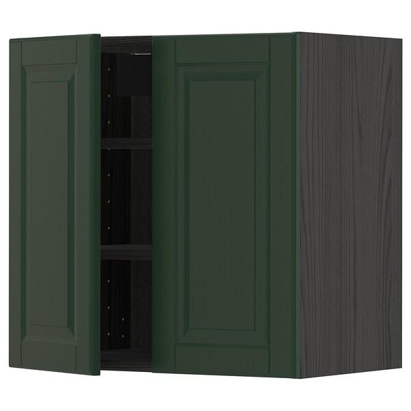 METOD Wall cabinet with shelves/2 doors, black/Bodbyn dark green, 60x60 cm