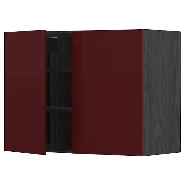 METOD خزانة حائط مع أرفف/بابين, أسود Kallarp/لامع أحمر-بني غامق, 80x60 سم