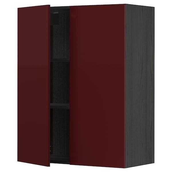METOD خزانة حائط مع أرفف/بابين, أسود Kallarp/لامع أحمر-بني غامق, 80x100 سم