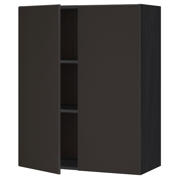 METOD Wall cabinet with shelves/2 doors, black/Kungsbacka anthracite, 80x100 cm