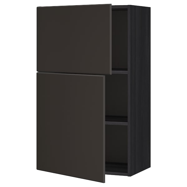 METOD Wall cabinet with shelves/2 doors, black/Kungsbacka anthracite, 60x100 cm