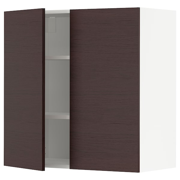 METOD Wall cabinet with shelves/2 doors, white Askersund/dark brown ash effect, 80x80 cm