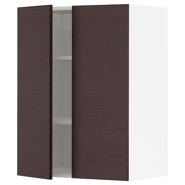 METOD Wall cabinet with shelves/2 doors, white Askersund/dark brown ash effect, 60x80 cm