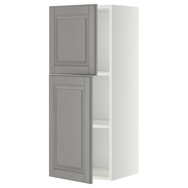 METOD خزانة حائط مع أرفف/بابين, أبيض/Bodbyn رمادي, 40x100 سم