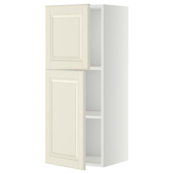 METOD خزانة حائط مع أرفف/بابين, أبيض/Bodbyn أبيض-عاجي, 40x100 سم