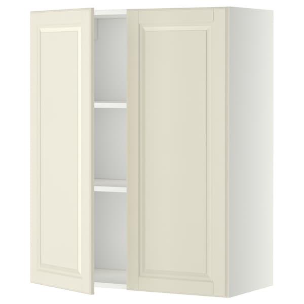 METOD خزانة حائط مع أرفف/بابين, أبيض/Bodbyn أبيض-عاجي, 80x100 سم