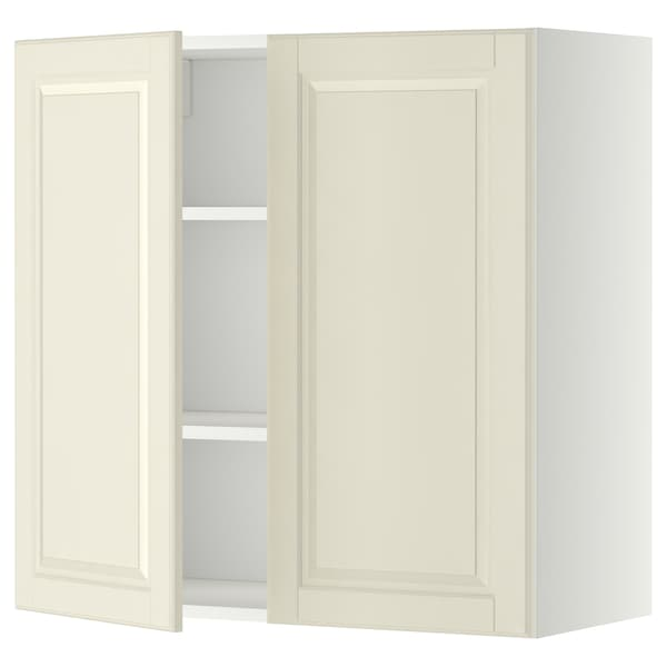 METOD Wall cabinet with shelves/2 doors, white/Bodbyn off-white, 80x80 cm