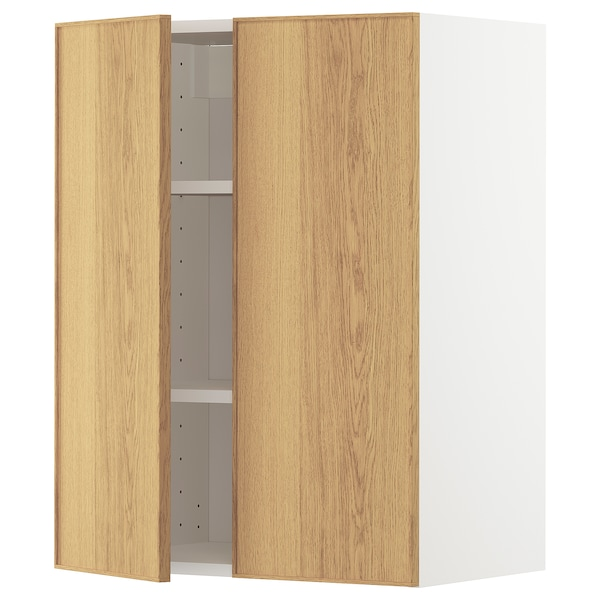 METOD Wall cabinet with shelves/2 doors, white/Ekestad oak, 60x80 cm