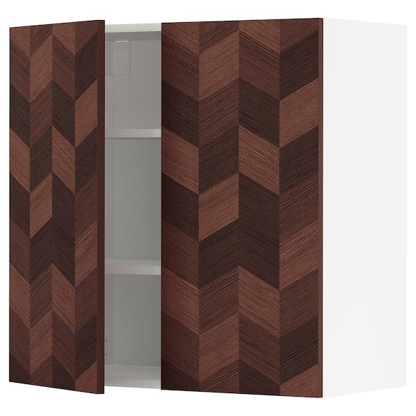 METOD خزانة حائط مع أرفف/بابين, أبيض Hasslarp/بني منقوش, 80x80 سم