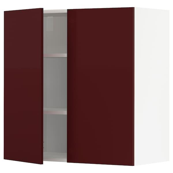 METOD Wall cabinet with shelves/2 doors, white Kallarp/high-gloss dark red-brown, 80x80 cm