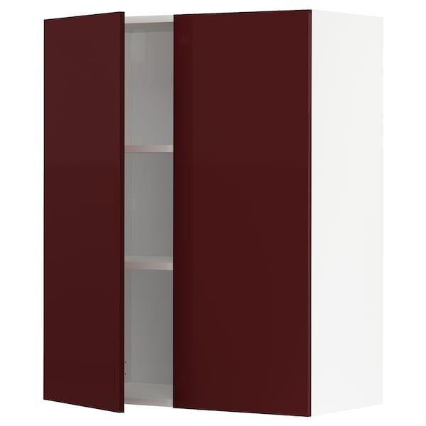 METOD خزانة حائط مع أرفف/بابين, أبيض Kallarp/لامع أحمر-بني غامق, 80x100 سم