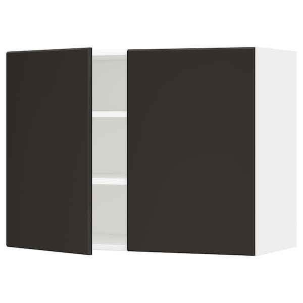 METOD Wall cabinet with shelves/2 doors, white/Kungsbacka anthracite, 80x60 cm