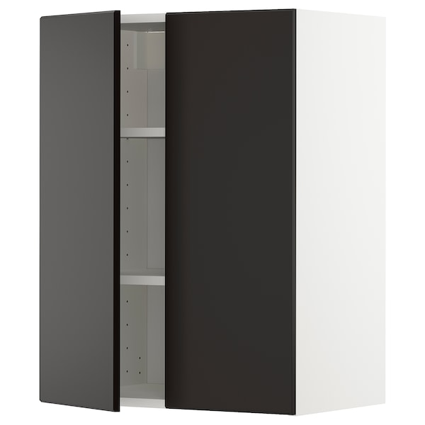 METOD خزانة حائط مع أرفف/بابين, أبيض/Kungsbacka فحمي, 60x80 سم