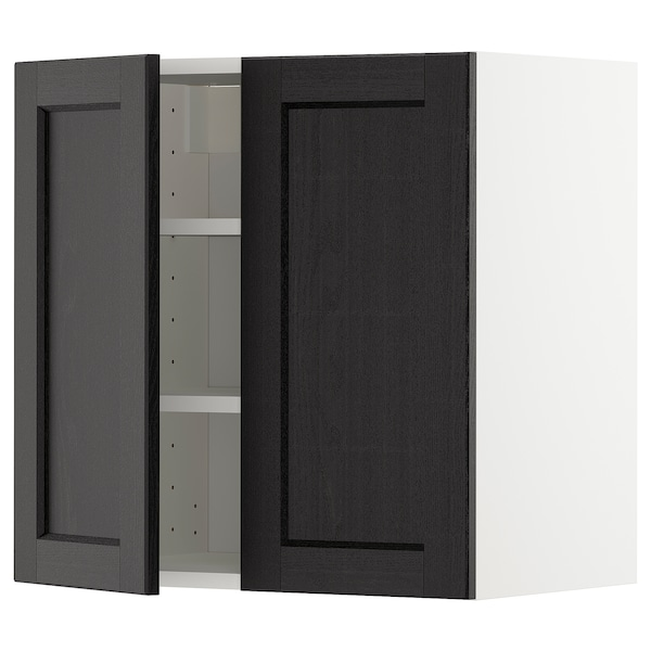 METOD Wall cabinet with shelves/2 doors, white/Lerhyttan black stained, 60x60 cm
