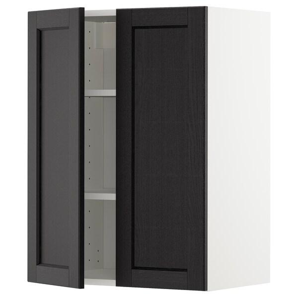 METOD خزانة حائط مع أرفف/بابين, أبيض/Lerhyttan صباغ أسود, 60x80 سم