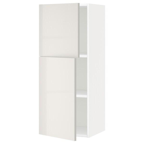 METOD خزانة حائط مع أرفف/بابين, أبيض/Ringhult رمادي فاتح, 40x100 سم