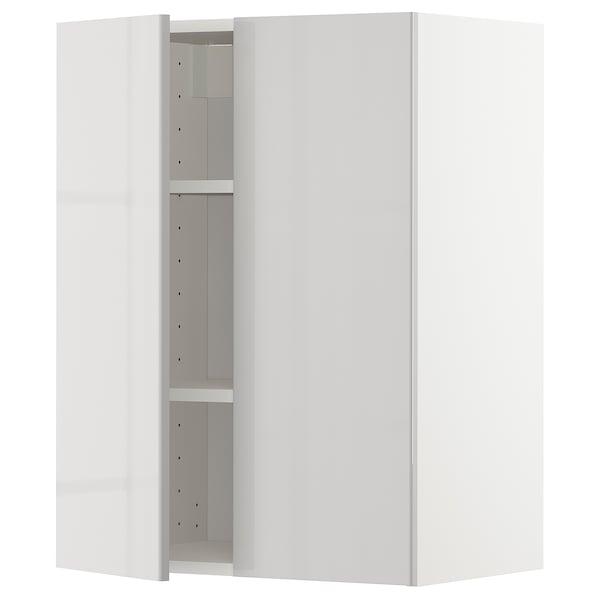 METOD خزانة حائط مع أرفف/بابين, أبيض/Ringhult رمادي فاتح, 60x80 سم
