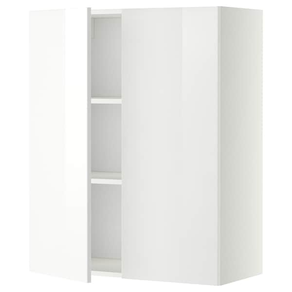 METOD Wall cabinet with shelves/2 doors, white/Ringhult white, 80x100 cm