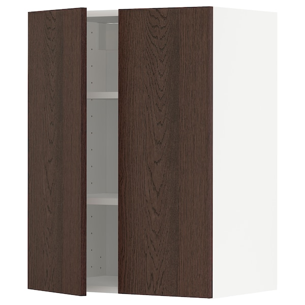 METOD Wall cabinet with shelves/2 doors, white/Sinarp brown, 60x80 cm
