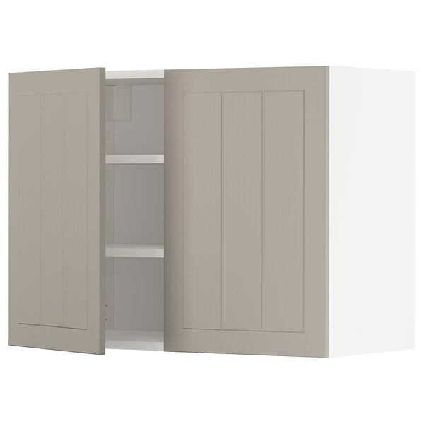 METOD Wall cabinet with shelves/2 doors, white/Stensund beige, 80x60 cm