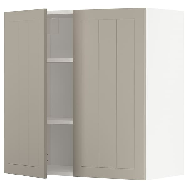 METOD Wall cabinet with shelves/2 doors, white/Stensund beige, 80x80 cm