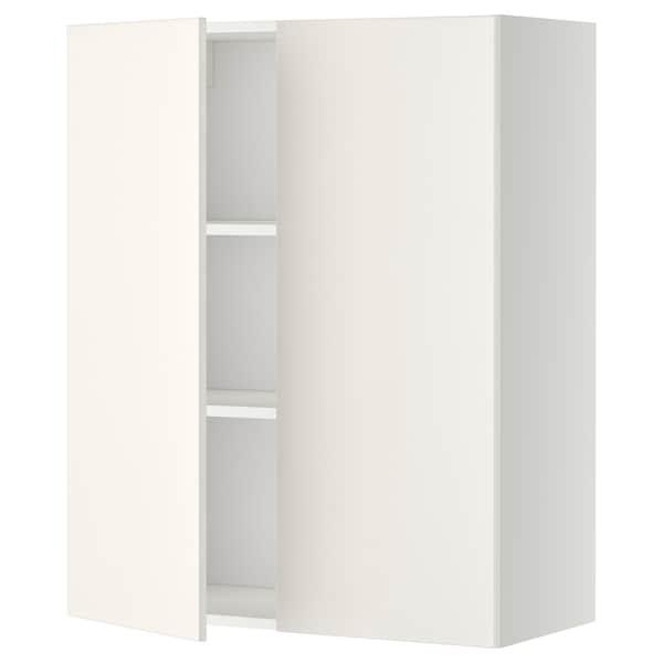 METOD خزانة حائط مع أرفف/بابين, أبيض/Veddinge أبيض, 80x100 سم