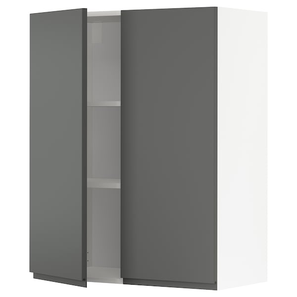 METOD Wall cabinet with shelves/2 doors, white/Voxtorp dark grey, 80x100 cm