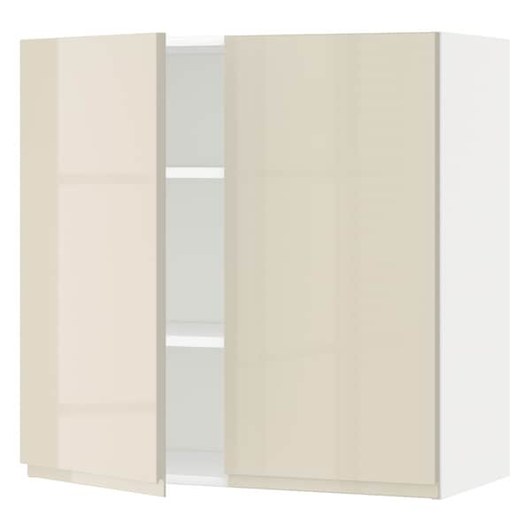 METOD Wall cabinet with shelves/2 doors, white/Voxtorp high-gloss light beige, 80x80 cm