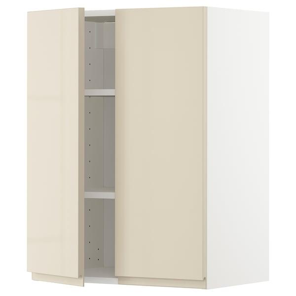 METOD خزانة حائط مع أرفف/بابين, أبيض/Voxtorp بيج فاتح لامع, 60x80 سم