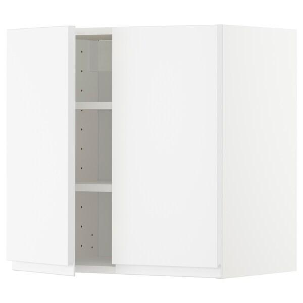 METOD خزانة حائط مع أرفف/بابين, أبيض/Voxtorp أبيض مطفي, 60x60 سم