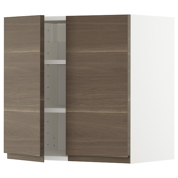 METOD Wall cabinet with shelves/2 doors, white/Voxtorp walnut effect, 60x60 cm