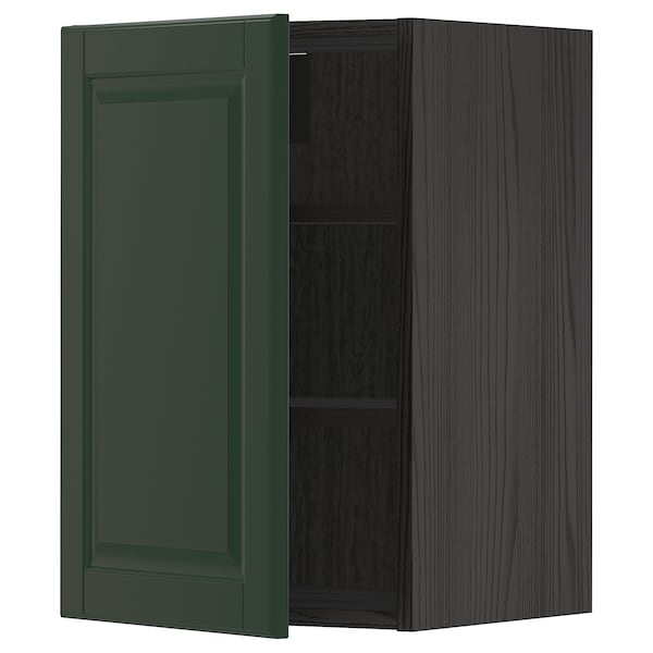METOD Wall cabinet with shelves, black/Bodbyn dark green, 40x60 cm