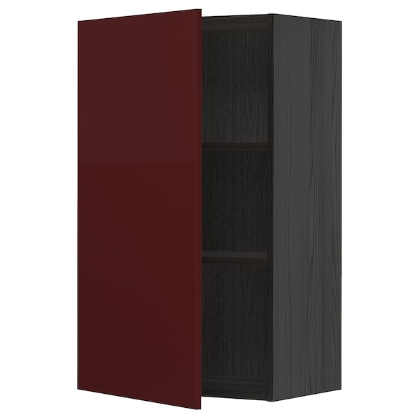 METOD Wall cabinet with shelves, black Kallarp/high-gloss dark red-brown, 60x100 cm