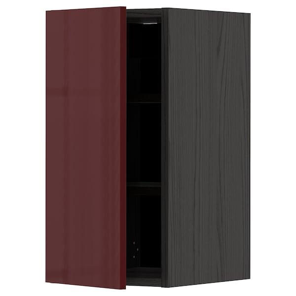 METOD Wall cabinet with shelves, black Kallarp/high-gloss dark red-brown, 30x60 cm