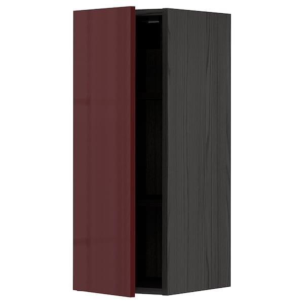 METOD خزانة حائط مع رفوف, أسود Kallarp/لامع أحمر-بني غامق, 30x80 سم