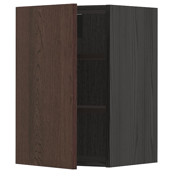 METOD Wall cabinet with shelves, black/Sinarp brown, 40x60 cm
