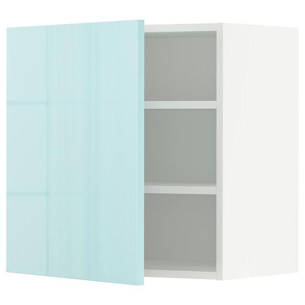 METOD Wall cabinet with shelves, white Järsta/high-gloss light turquoise, 60x60 cm