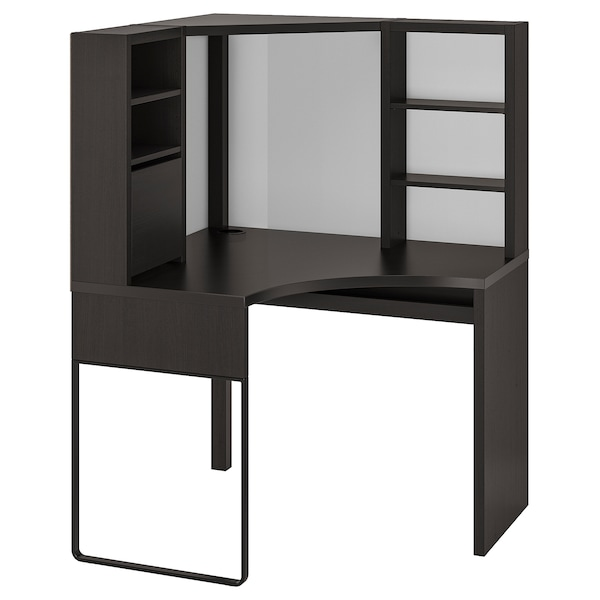 MICKE corner workstation black-brown 100 cm 100 cm 142 cm