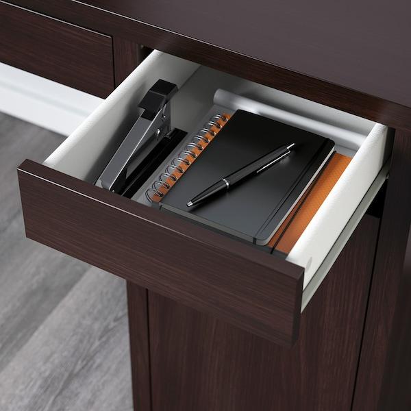 MICKE Desk, black-brown, 105x50 cm