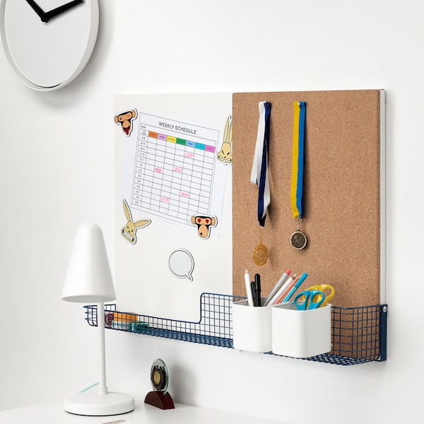 MÖJLIGHET Noticeboard/whiteboard with basket, white/blue, 71x49 cm