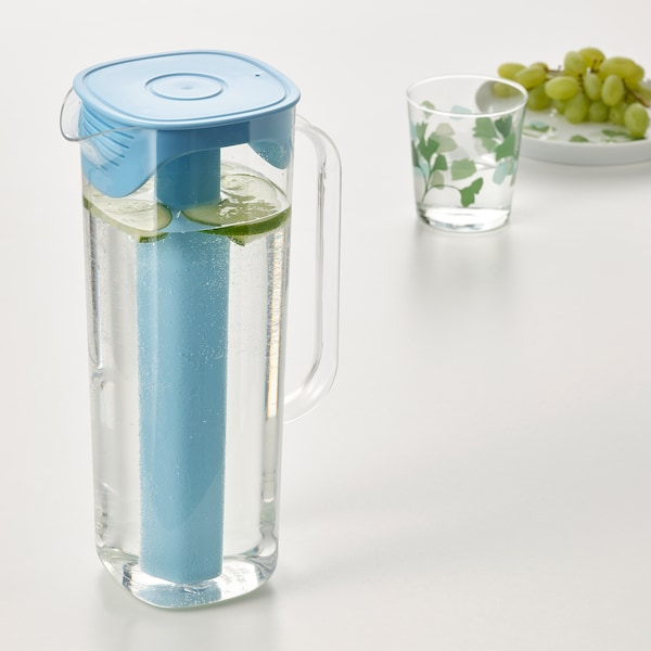 MOPPA Jug with lid, blue/transparent, 1.7 l
