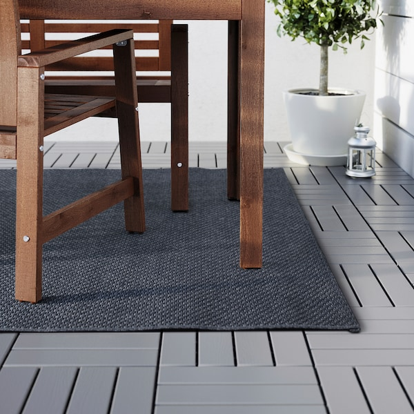 MORUM rug flatwoven, in/outdoor dark grey 230 cm 160 cm 5 mm 3.68 m² 1385 g/m²
