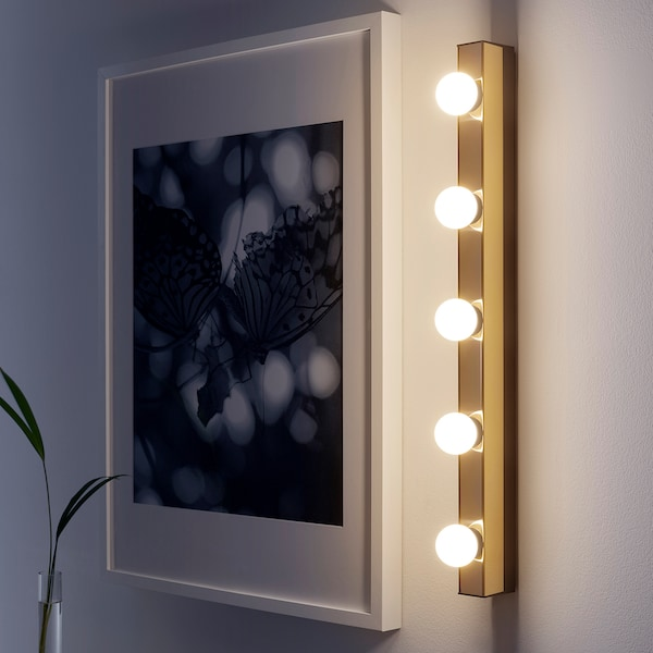 MUSIK Wall lamp, wired-in installation, brass-colour