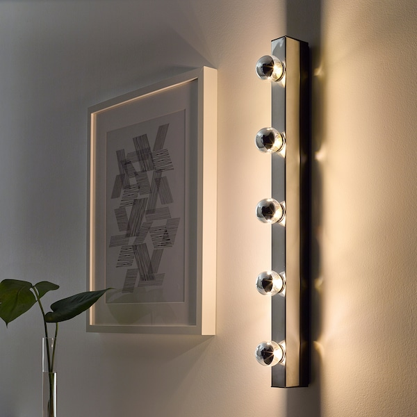 MUSIK Wall lamp, wired-in installation, chrome-plated