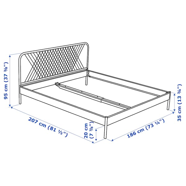 NESTTUN هيكل سرير, أبيض/Luroy, 180x200 سم