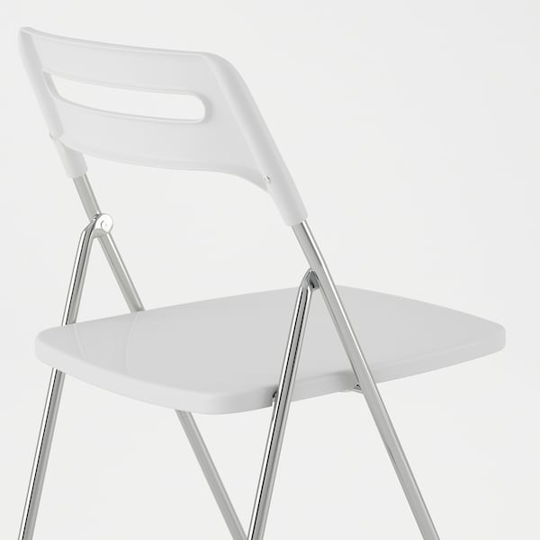 NISSE Folding chair, high-gloss white/chrome-plated